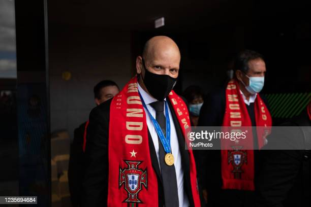 Jorge Braz, The Portugals Futsal National team Coach arrives at Lisbon Airport in euphoria after having won the 2021 World Cup in Lithuania, on...