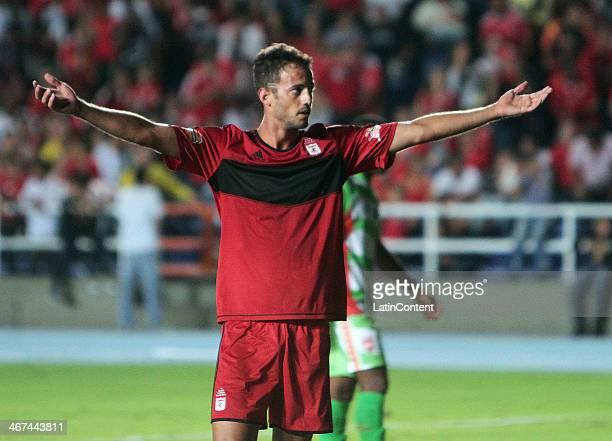 Jorge Brazalez of America de Cali celebrates a scored goal during a match between America de Cali and Espreso Rojo as part of Torneo Postobon 2014 at...