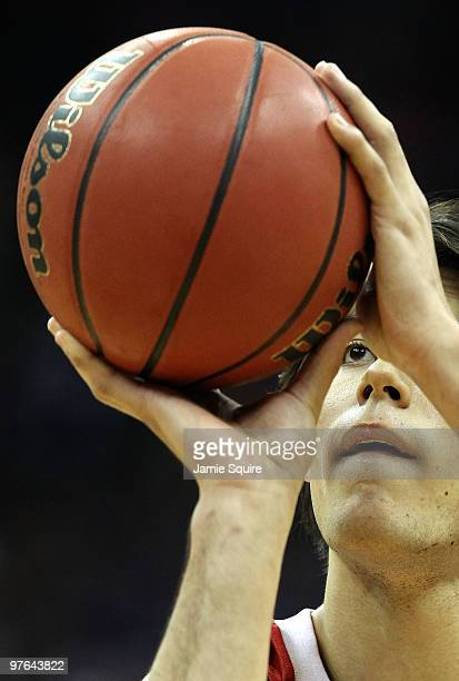 Jorge Brian Diaz of the Nebraska Cornhuskers shoots a free throw in the first half while taking on the Texas AM Aggies during the quarterfinals of...