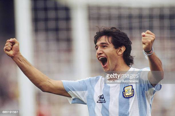 Jorge Burruchaga celebrates scoring a goal during a first round match of the 1986 FIFA World Cup against Bulgaria Argentina won 20