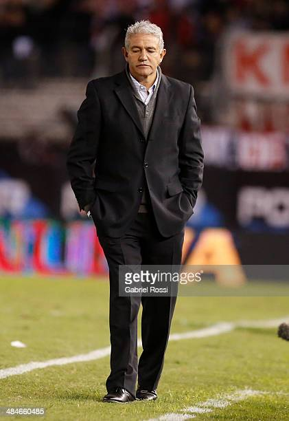 Jorge Burruchaga coach of Atletico Rafaela looks dejected during a match between River Plate and Atletico Rafaela as part of 13th round of Torneo...