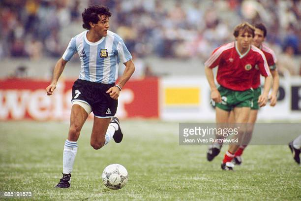 Jorge Burruchaga in action during a first round match of the 1986 FIFA World Cup against Bulgaria Argentina won 20