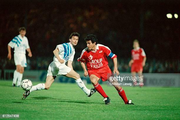 Jorge Burruchaga in action during the French Championship of the 19921993 season against Marseille This match became France's soccer scandal of the...