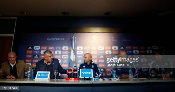 Jorge Burruchaga Manager of Argentina Claudio Tapia President of AFA Jorge Samapoli coach of Argentina Jorge Desio assistant coach and Sebastian...