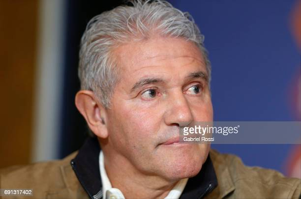 Jorge Burruchaga Manager of Argentina looks on during the presentation of Jorge Sampaoli as new Argentina coach at Argentine Football Association...