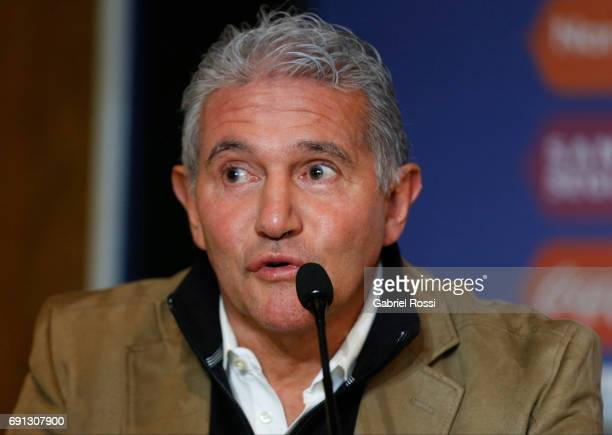 Jorge Burruchaga Manager of Argentina speaks during the presentation of Jorge Sampaoli as new Argentina coach at Argentine Football Association...