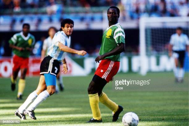 Jorge Burruchaga of Argentina during the opening match of the 1990 World Cup between Cameroon and Argentina at Stade Giuseppe Meazza Milano Italy on...