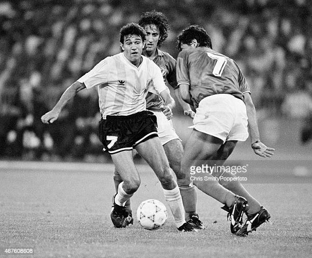Jorge Burruchaga of Argentina with Paolo Maldini of Italy in action during the FIFA World Cup semifinal between Italy and Argentina in Naples on 3rd...