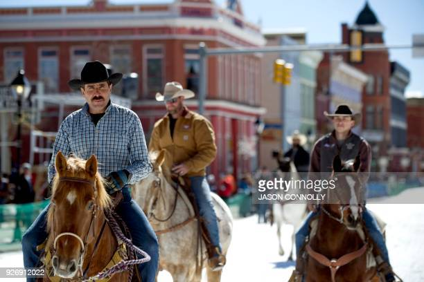 Jorge Calzadillas rides his horse towards the start line during the 70th annual Leadville Ski Joring weekend competition on March 3 2018 in Leadville...