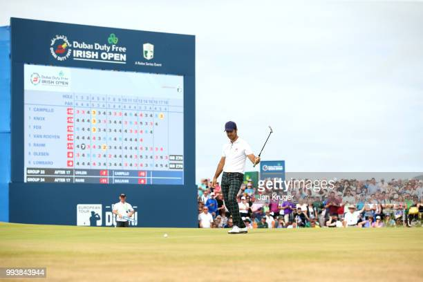 Jorge Campillo of Spain celebrates a birdie on the 18th green during the final round of the Dubai Duty Free Irish Open at Ballyliffin Golf Club on...