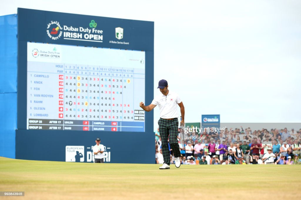 Jorge Campillo of Spain celebrates a birdie on the 18th green during the final round of the Dubai Duty Free Irish Open at Ballyliffin Golf Club on July 8, 2018 in Donegal, Ireland.