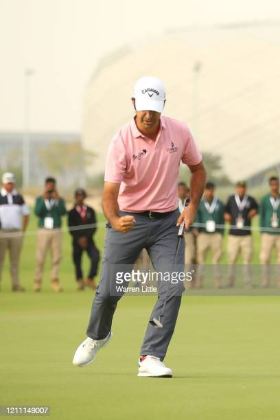 Jorge Campillo of Spain celebrates after first play off hole on the 18th green during Day 4 of the Commercial Bank Qatar Masters at Education City...