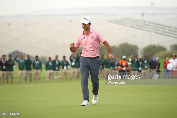 Jorge Campillo of Spain celebrates the winning birdie putt during the 5th play off hole against David Drysdale of Scotland during Day 4 of the...