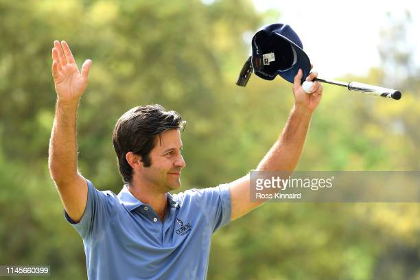 Jorge Campillo of Spain celebrates winning the Trophee Hassan II on the 18th green during Day Four of the Trophee Hassan II at Royal Golf Dar EsSalam...