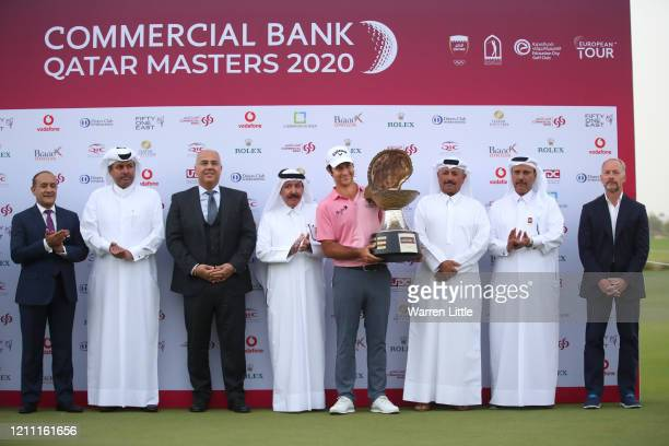 Jorge Campillo of Spain is presented with the trophy during Day 4 of the Commercial Bank Qatar Masters at Education City Golf Club on March 08 2020...
