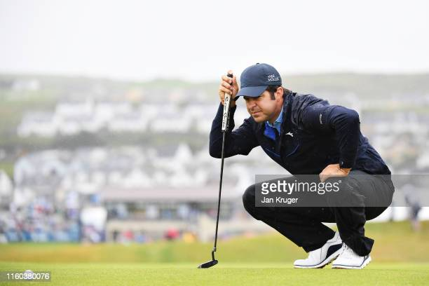 Jorge Campillo of Spain lines up a putt on the first hole during Day Three of the Dubai Duty Free Irish Open at Lahinch Golf Club on July 06 2019 in...