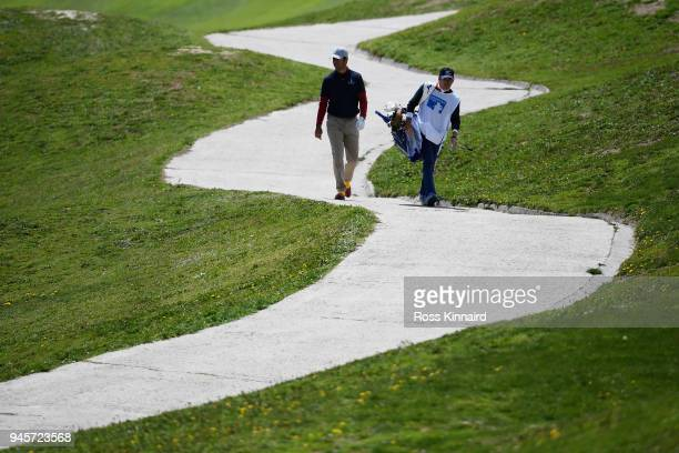Jorge Campillo of Spain makes his way down the 5th fairway during day two of the Open de Espana at Centro Nacional de Golf on April 13 2018 in Madrid...