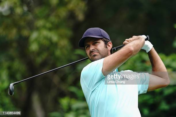 Jorge Campillo of Spain plays a shot during the day two of the 2019 Volvo China Open at Genzon Golf Club on May 3 2019 in Chengdu China