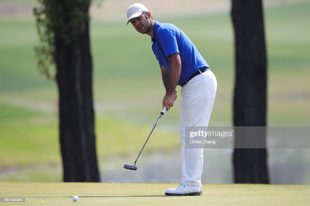 Jorge Campillo of Spain plays a shot during the first round of the 2018 Volvo China Open at Topwin Golf and Country Club on April 26, 2018 in Beijing, China.