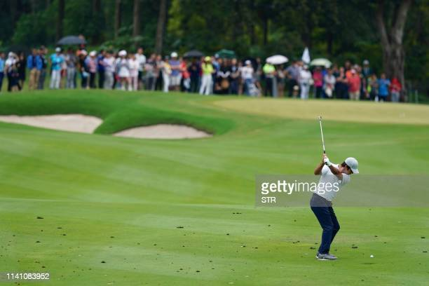 Jorge Campillo of Spain plays a shot during the third round of the China Open golf tournament in Shenzhen in China's southern Guangdong province on...