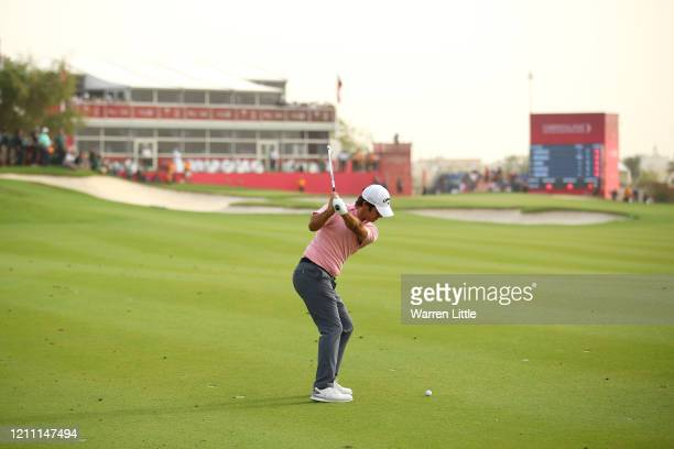 Jorge Campillo of Spain plays his second shot on the 18th hole during Day 4 of the Commercial Bank Qatar Masters at Education City Golf Club on March...