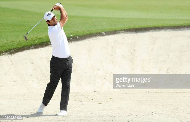 Jorge Campillo of Spain plays his second shot on the third hole during the third round of the Commercial Bank Qatar Masters at Education City Golf...