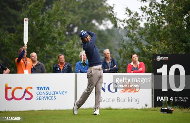 Jorge Campillo of Spain plays his tee shot to the 10th hole during Day Two of the Dutch Open at Bernardus Golf on September 17, 2021 in Cromvoirt,...