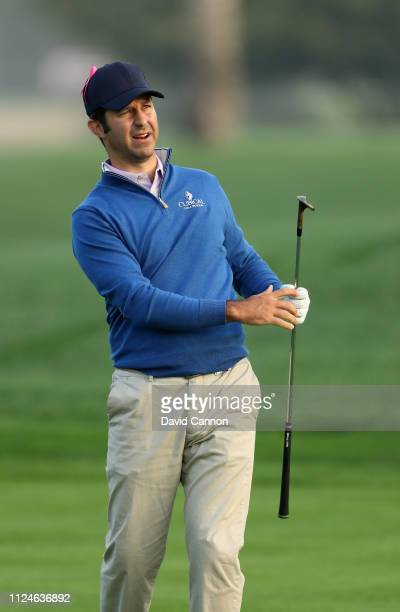 Jorge Campillo of Spain plays his third shot on the par 5 10th hole during the second round of the Omega Dubai Desert Classic on the Majlis Course at...