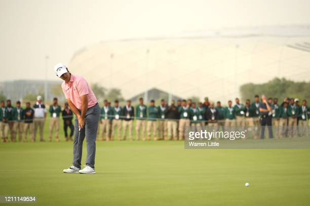 Jorge Campillo of Spain putts during the first play off hole on the 18th green during Day 4 of the Commercial Bank Qatar Masters at Education City...