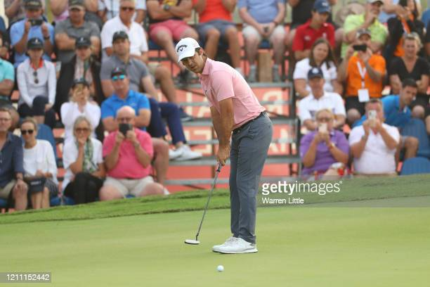 Jorge Campillo of Spain putts on the 18th green during the second play off hole during Day 4 of the Commercial Bank Qatar Masters at Education City...