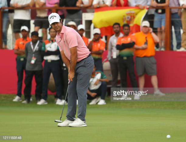 Jorge Campillo of Spain putts on the 18th green during the third play off hole during Day 4 of the Commercial Bank Qatar Masters at Education City...