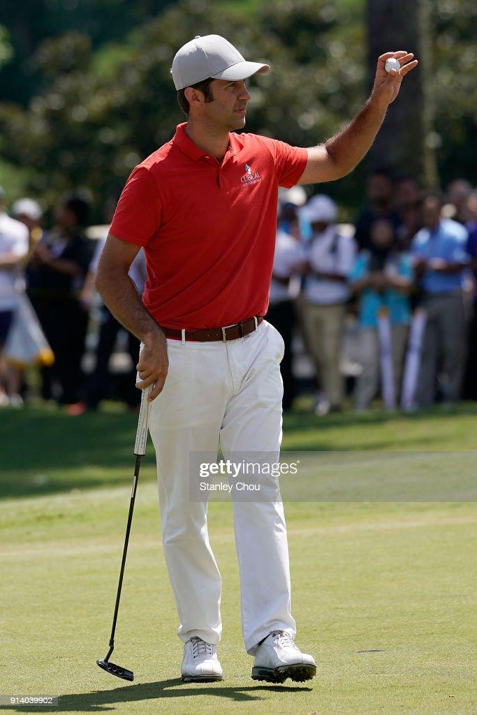Jorge Campillo of Spain reacts after the last putt on the 18th hole during day four of the Maybank Championship Malaysia at Saujana Golf and Country Club on February 4, 2018 in Kuala Lumpur, Malaysia.