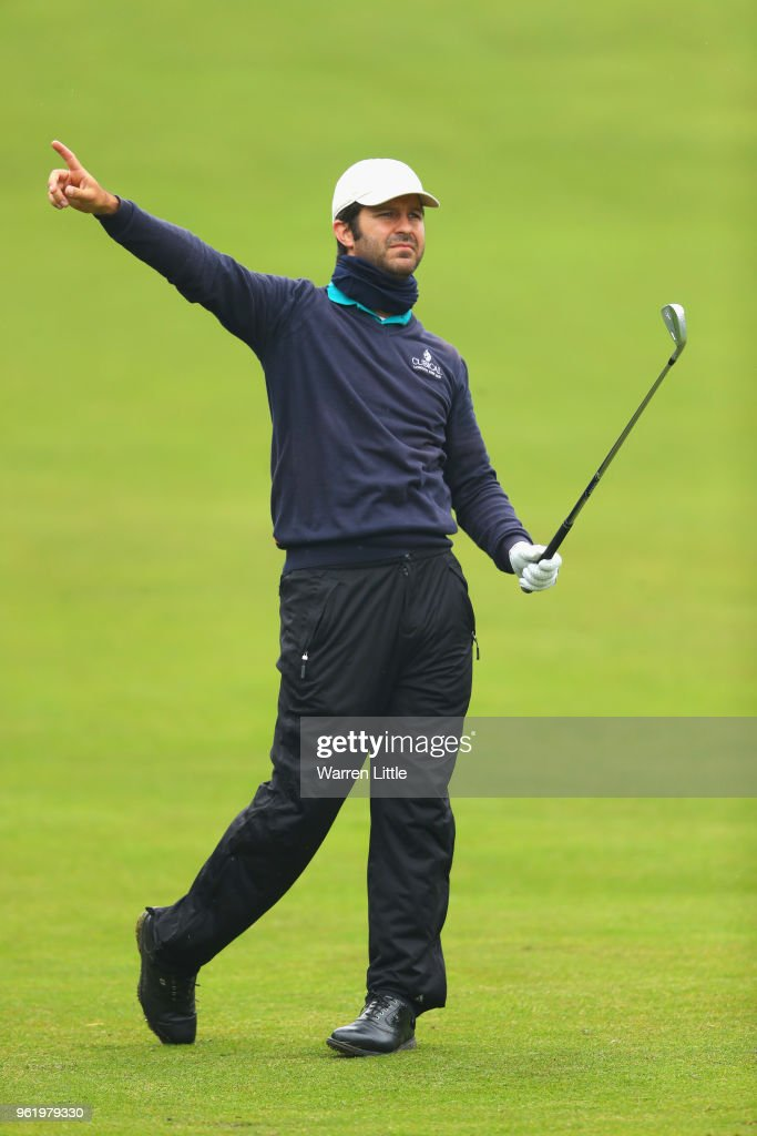 Jorge Campillo of Spain reacts as he plays his second shot on the 4th hole during day one of the BMW PGA Championship at Wentworth on May 24, 2018 in Virginia Water, England.