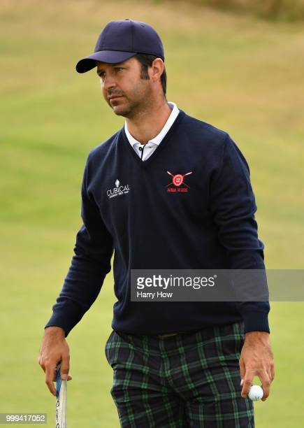 Jorge Campillo of Spain reacts to his triple bogey on hole one during day four of the Aberdeen Standard Investments Scottish Open at Gullane Golf...