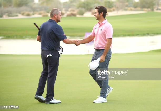 Jorge Campillo of Spain shakes hands with David Drysdale of Scotland after winning the tournament on the 5th play off hole during Day 4 of the...