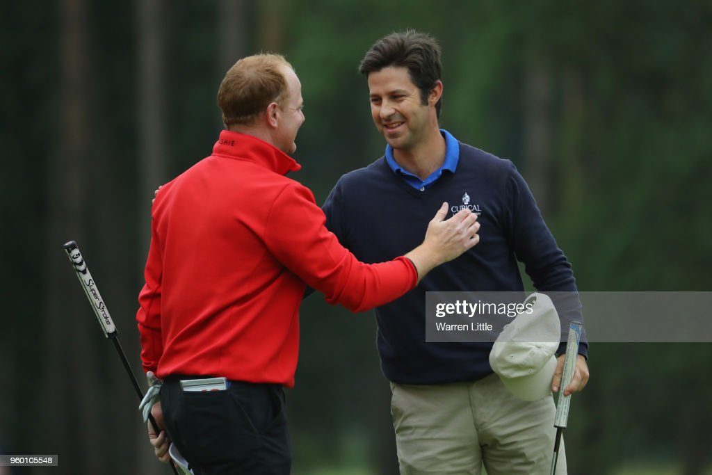 Jorge Campillo of Spain shakes hands with Richard Mcevoy of England on the 18th green during the knockout stage on day three of the Belgian Knockout at Rinkven International Golf Club on May 19, 2018 in Antwerpen, Belgium.