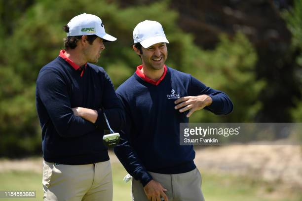 Jorge Campillo of Spain speaks to Nacho Elvira of Spain during Day Two of the GolfSixes at Oitavos Dunes on June 08 2019 in Cascais Portugal