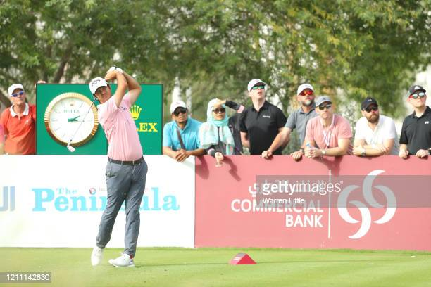 Jorge Campillo of Spain tees off on the 15th hole during Day 4 of the Commercial Bank Qatar Masters at Education City Golf Club on March 08 2020 in...