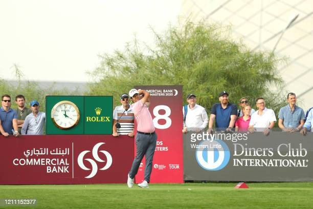 Jorge Campillo of Spain tees off on the 18th hole during Day 4 of the Commercial Bank Qatar Masters at Education City Golf Club on March 08 2020 in...