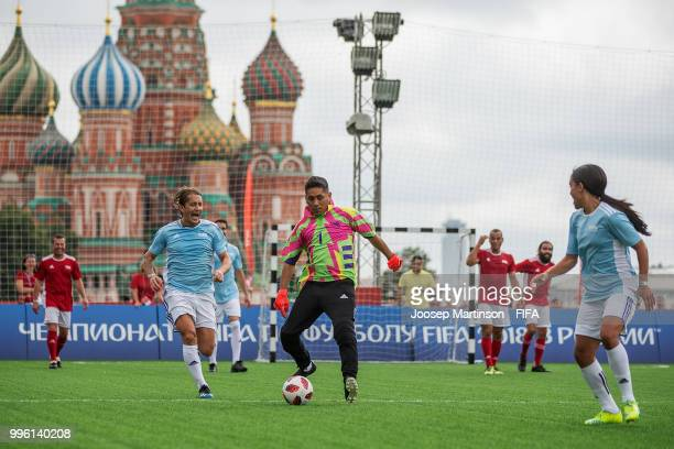Jorge Campos kicks the ball during the Legends Football Match in Red Square on July 11 2018 in Moscow Russia