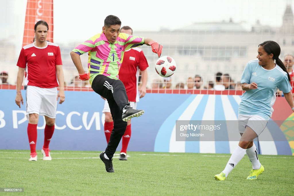 Jorge Campos kicks the ball during the Legends Football Match in 'The park of Soccer and rest' at Red Square on July 11, 2018 in Moscow, Russia.