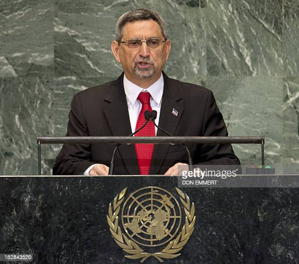 Jorge Carlos de Almeida Fonseca President of the Republic of Cape Verde addresses the 67th United Nations General Assembly meeting September 27 2012...