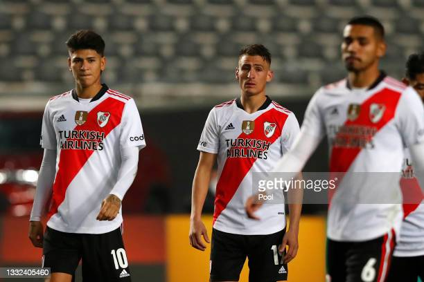 Jorge Carrascal and Braian Romero of River Plate react after losing in the penalty shootout after a round of sixteen match of Copa Argentina 2021...