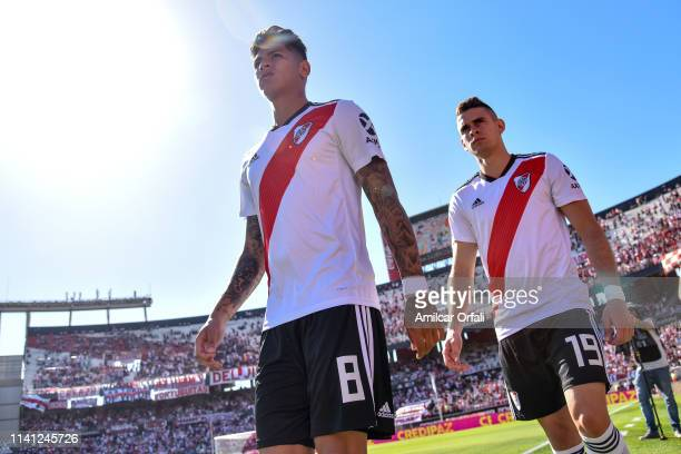 Jorge Carrascal and Rafael Santos Borré of River Plate during a match between River Plate and Tigre as part of Superliga 2018/19 at Estadio...