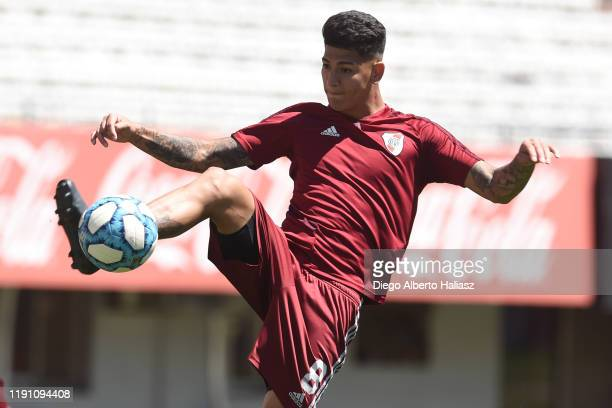 Jorge Carrascal controls the ball during a training session at Estadio Monumental Antonio Vespucio Liberti on November 29 2019 in Buenos Aires...
