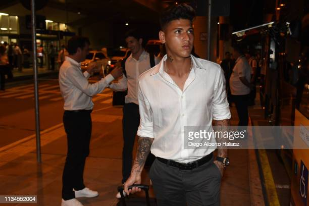 Jorge Carrascal looks on as River Plate arrives to Brazil on April 2 2019 in Porto Alegre Brazil River Plate will face Internacional as part of Copa...