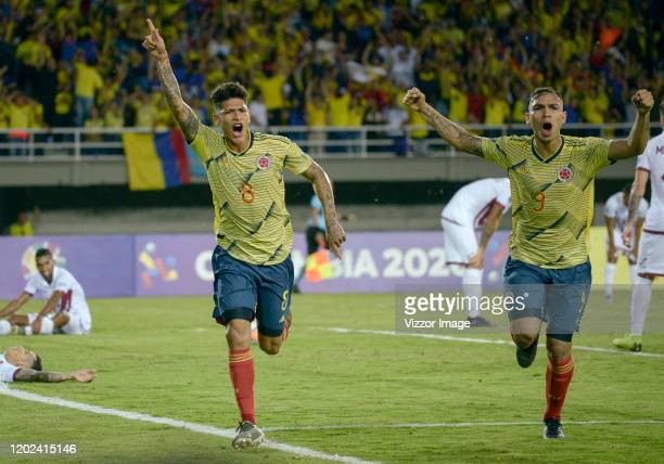 Jorge Carrascal of Colombia celebrates after scoring the first goal of his team during a match between Colombia U23 and Venezuela U23 as part of...