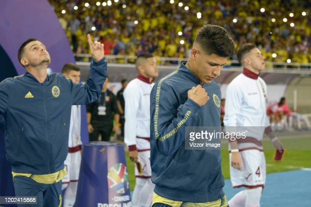 Jorge Carrascal of Colombia enters the field prior a match between Colombia U23 and Venezuela U23 as part of CONMEBOL Preolimpico Colombia 2020 at...
