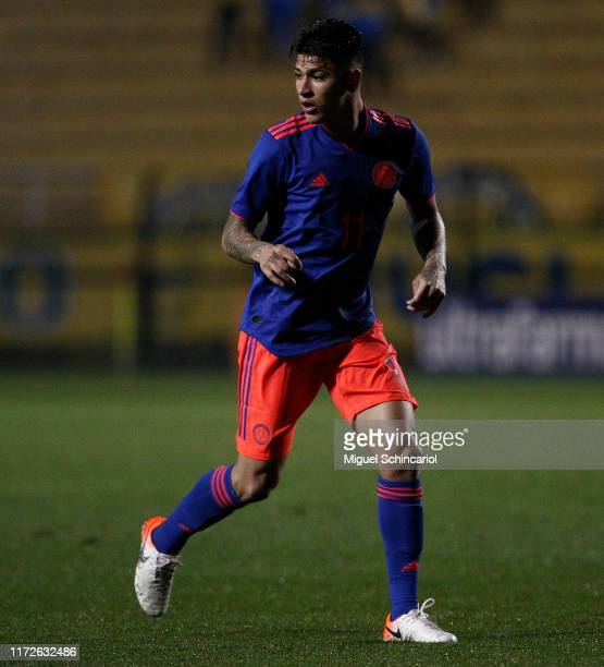 Jorge Carrascal of Colombia in action during a Olympic Soccer Friendly match between Brazil and Colombia at Pacaembu Stadium on September 05 2019 in...
