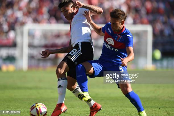 Jorge Carrascal of River Plate and Lucas Menossi of Tigre dispute the ball during a match between River Plate and Tigre as part of Superliga 2018/19...